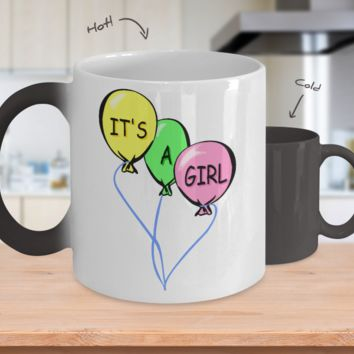 Gender Reveal Color Changing Coffee Mug-Girl Balloons