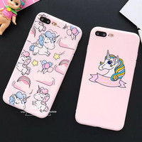 Cute Rainbow Unicorn Case for iPhone 7 Case For iphone7 6 6S Plus Soft Phone Cases Lovely Cartoon Candy Balloon Back Cover Coque