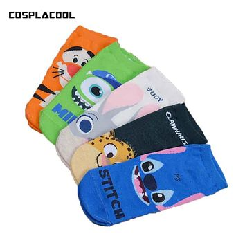2017 Newly cartoon Stitch and Jumping tiger characters female socks Cotton cute straight Ladies jacquard Breathable socks