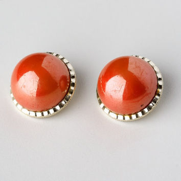 Vintage Orange Cabochon Clip On Earrings Marked Hong Kong