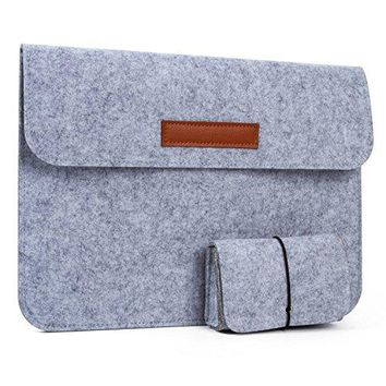 13 inch Tablet Sleeve Pouch, UBaymax Universal Dark Gray Felt Laptop Sleeve Pouch Bag Notebook Tablet Computer Carrying Bag Briefcase Case with small bag for MacBook Air Macbook Pro Retina iPad Pro