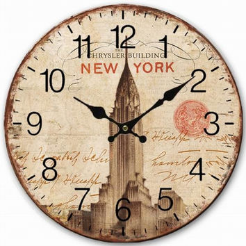 Retro Vintage Style Large Clock New York Chrysler Building Home Decorative Wall Clock Wood 34CM