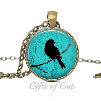 Bird on Branch - Royal Blue and White Silhouette Nature Vintage Image - Glass Art Necklace, Pendant, Jewelry