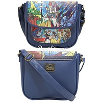 Licensed cool Disney Beauty And The Beast Stained Glass Window Dance Crossbody Bag Purse NEW