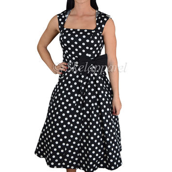 60's Vintage Design Polka Dot High Collar Swing Dress