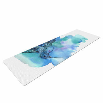 "Sonal Nathwani ""Hummingbird"" Blue Watercolor Yoga Mat"