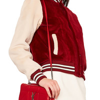 Saint Laurent Small Patchwork Leather Monogramme Jamie Chain Bag in Eros Red | FWRD
