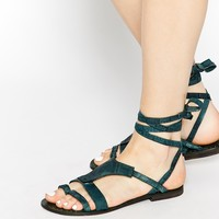 Free People Oliviera Teal Flat Wrap Gladiator Sandals