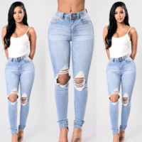 Women Simple Casual Bodycon Ripped Worn Jeans Pencil Pants Trousers
