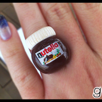 Nutella Inspired Ring - Chocolate - Kawaii Miniature Ring - Miniature Jewelry - Food Miniature - Sweet Ring - Polymer Clay Ring