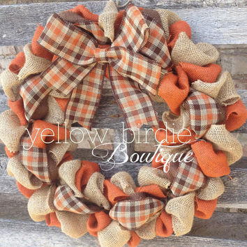 Burlap Wreath, Fall Wreath, Autumn Wreath, Fall Burlap Wreath, Home Decor