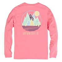 Patch Mountain Long Sleeve Tee in Salmon Rose by The Southern Shirt Co. - FINAL SALE