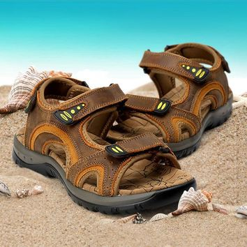 ac VLXC Men Leather Sandals Summer Permeable Casual Anti-skid Beach Shoes Velcro [10209401804]