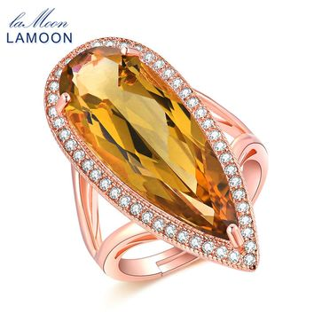 LAMOON Luxury Gemstone Tear Drop Rings for Women Citrine 925 Sterling Silver Cocktail Ring Fine Jewelry Rose Gold S925 LMRI041