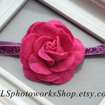 Fuchsia Rose Baby Girl Headband - Sparkly Pink & Purple Felt Flower Hair Bow for Infants, Toddlers, Little Girls - Fuchsia Purple Headbands