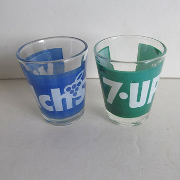 7UP Rare Welchs Grape Shot Glass vintage Soda Advertising shot glasses 7up soda advertising Shot Glass Souvenir Atomic Barware Barcart Decor