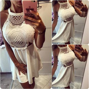 DCK9M2 Gagaopt 2016 Women Sexy Hollow Lace Dress Solid Mini Pleated Halter Neck Dress Vestidos Women Vintage Harajuku Party Loose Robes