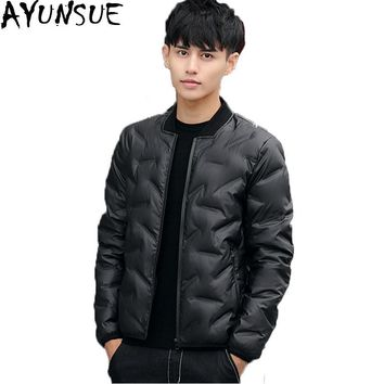 Autumn Winter Down Jacket Men Stand Collar Fashion Baseball Jacket Short Ultra Light Down Coat Male Parka Plus Size M-4XL ST298