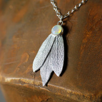 Silver Sage Leaves and Swarovski Crystal Necklace