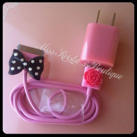 Cute Pink Case USB wall or car charger plus by MissKristasBoutique