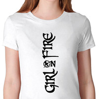 HUNGER GAMES Shirt. Girl on Fire Tshirt. women,girls