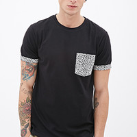 Floral Print Pocket Tee Black/White