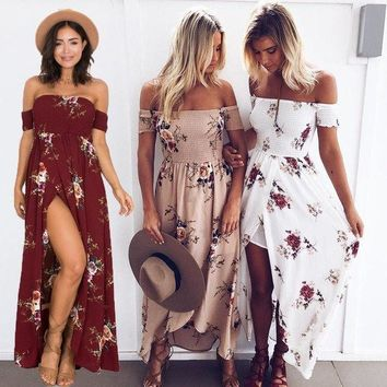 Fashion Sexy Wrapped Floral Print Dress Summer Beach Long Dress