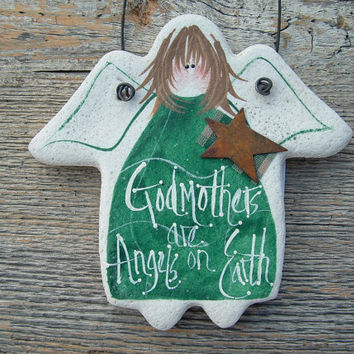 Godmother Angel Birthday Mother's Day Xmas Gift Hanging Salt Dough Ornament