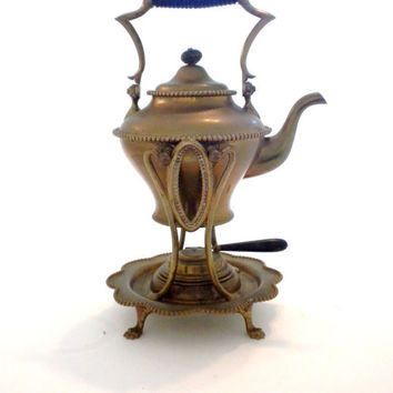 Antique, Tilting, Brass Teapot With Warmer, 1800s