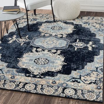 6570 Navy Blue Persian Distressed Oriental Area Rugs
