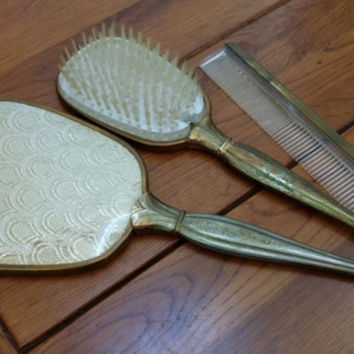 Vintage Three Piece Gold Hand Mirror Brush Comb Vanity Set Perfect for Your Dresser Boudoir Photo Prop