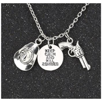 Retro Keep Calm Kill Zombies Hat Pistol Silver Plated Pendant Necklace