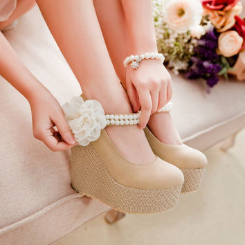 Strappy Sweet Pearl Chiffon Flower Creepers Ankle Wrap Ladies Wedge Womens Mary Jane Shoes Wedges Platforms High Heels Princess