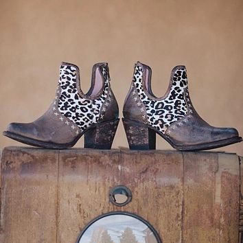 Women's Chunky Heeled Leopard Print Ankle Motorbike Boots