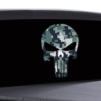 Punisher Skull Window Decal Vinyl Graphic Camouflage ACU Pattern Army Veterans