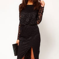 Black Floral Sheer Lace Side Slit Midi Dress