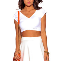 WHITE CRISS CROSS V NECK FITTED TEE CROP TOP