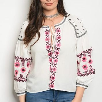 Embroidered Essential Plus Size Top