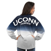 UConn Huskies Women's Navy Ombre Long Sleeve Dip-Dyed Spirit Jersey