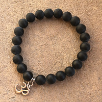 Patience and Soothing, Matte Onyx Gemstone Mala Bracelet