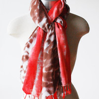 Coral spring scarf, hand dyed, fringed scarf