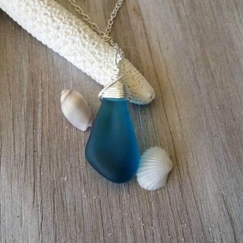 Handmade in Hawaii, Teal blue sea glass necklace, sterling silver chain,gift box,beach glass necklace,sea glass jewelry,birthday gift.