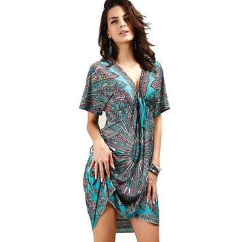 Kleider Women V soft milk silk Boho print midi tribal dresses 2018 summer Ethnic casual loose waist Beach Dress