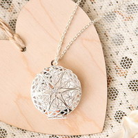 Silver Plated Filigree Locket Necklace