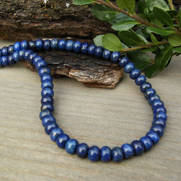 Lapis Lazuli Necklace, Blue Gemstone Rondelle Beads, Bali Sterling Silver, Simple Classic Southwest Style, Lapis Jewelry, Unisex, Gift Idea