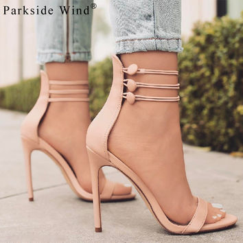 Parkside Wind Summer Three-row Buckle Cross-tied Sandals Instagram Popular Black Women Heels Red Girl's High Heels -5