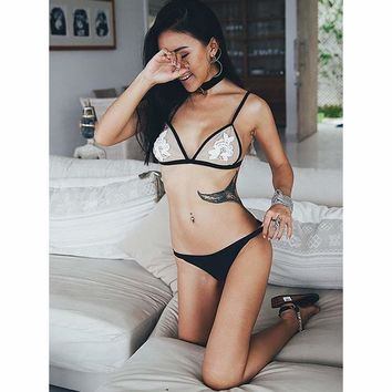 Skin Color Embroidered Cup With Blocked Color Bottom Bikini Set