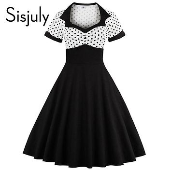 Sisjuly vintage spring women dress black white patchwork polka dots a-line women slim fashion new 2017 women vintage dresses