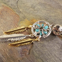 Silver and Gold with Turquoise Dream Catcher Belly Button Jewelry Ring