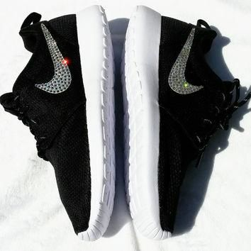 Black Nike Roshe run with Swarovski Crystals, Bling Nikes, Nike Roshe Run, Bling Nike